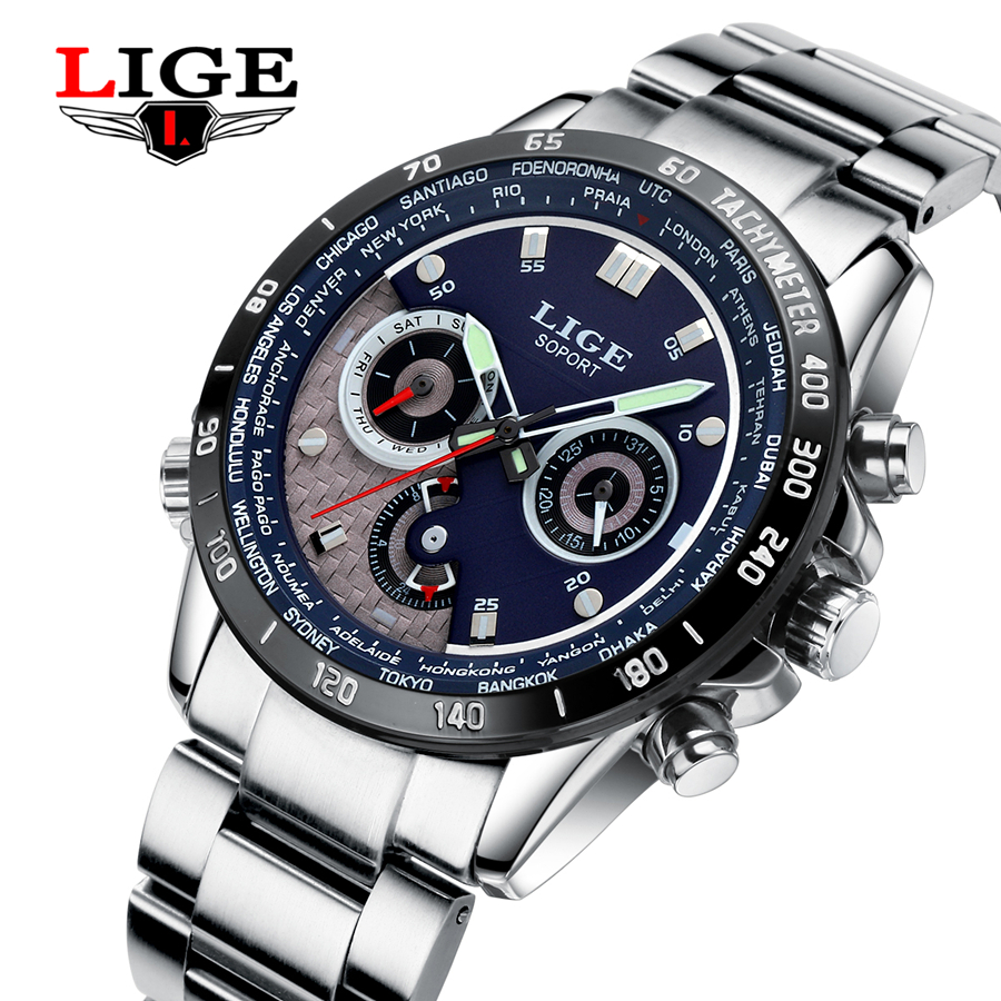 LIGE Men Watches Top Brand Luxury Full Steel Clock Sport Quartz Watch Men Casual Business Waterproof Watch Man Relogio Masculino weide casual genuine watch luxury brand quartz sport watches stainless steel analog men larm clock relogio masculino schocker