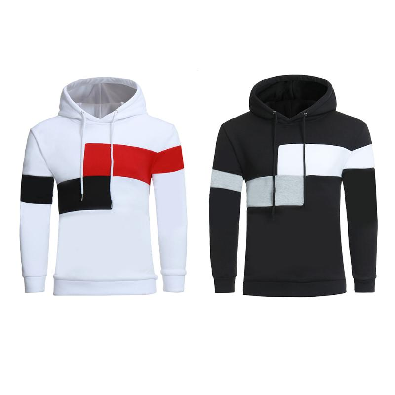 2018 Brand Fashion Men Casual Loose Patchwork Hoodies Sportswear Autumn Winter Long Sleeve Stitching Pullovers Hat Mens Hoody
