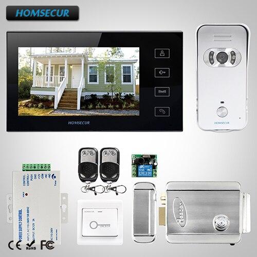 Homssecur 7 проводной видео и аудио домашний Интерком + мониторы для дома безопасности TC021 S камера TM704 B