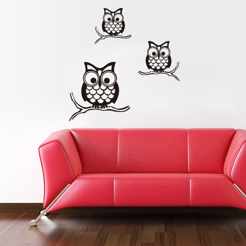 Cute 3 Owls Family Wall Stickers Kids Room Wall Art Decal ...