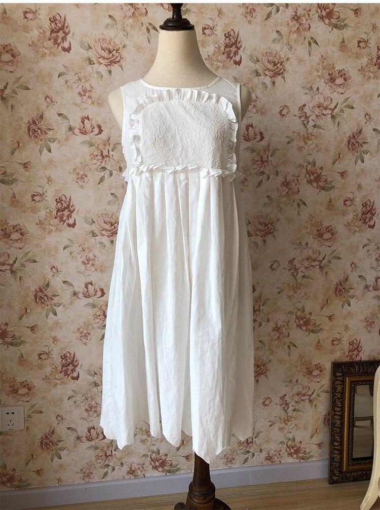 Y5-311 Sleeveless Cotton Bridesmaid Wedding Dress Nightdress Women   Nightgowns     Sleepshirts   Lady Nightwear Sleepwear High waist