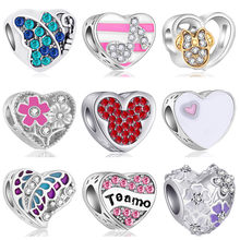 Simple Style Hollow Note Flower Mickey Crystal Heart Beads Charms Fit Pandora Charms Bracelets Beads Fine Jewelry Handmade Gifts(China)