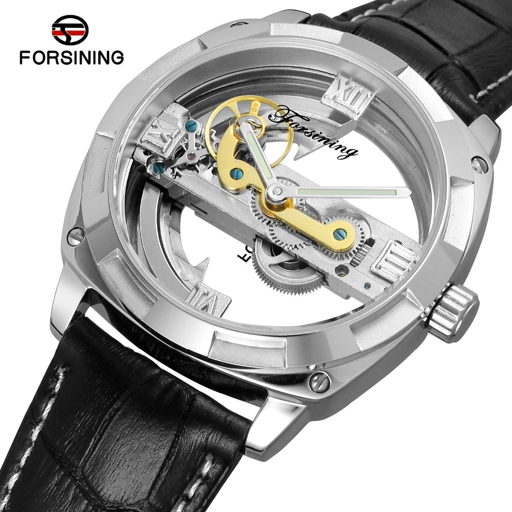 Forsining Tourbillon Automatic Mechanical Watch Men Transparent Skeleton Wristwatch Male Fashion Sport Business Watch with Box luxury brand shenhua tourbillon automatic mechanical watch men transparent skeleton wristwatch male fashion business watch