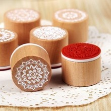 hot deal buy min order $5  classic   vintage floral pattern round wooden rubber stamp scrapbook diy stamping ~1pc~