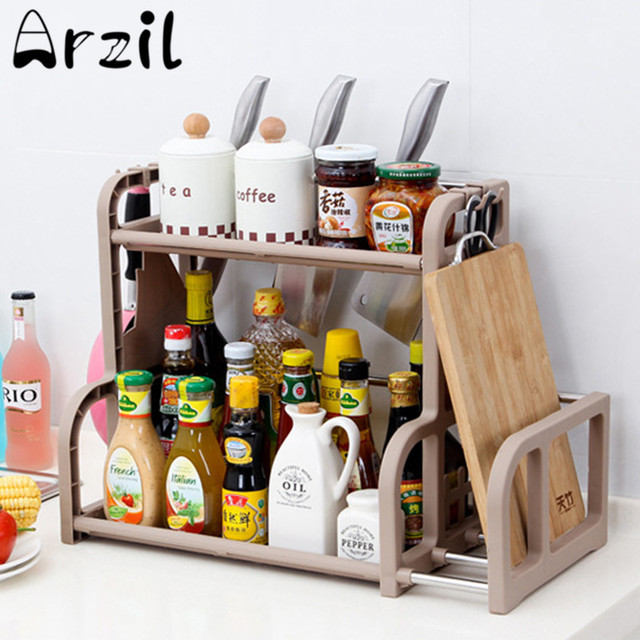 Multi Functional Kitchen Condiment Shelf Holder Hook Chopping Board Pot Knife Rack Stands Cooking Tool