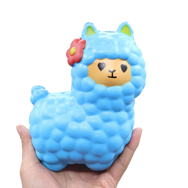 Novelty Toys Cute Pu Alpaca with Bell Squishy Slow Rising Collection Kids Funny Sheep Toy Anti-Stress Fun Buffer Stress Gadgets