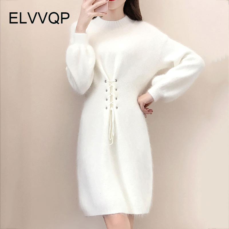 2018 New Spring womens knit dress female autumn and winter loose large size O-Neck Elastic waist sweater dress vestidos LF009
