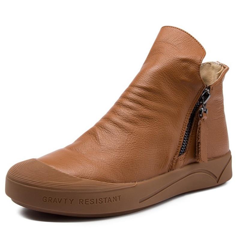 À Cheville Rétro Véritable Rome De La Bottes Noir Chaussures Femelle Caoutchouc Pour 2018 Brun brown Extérieure Femmes En Black Naturel Cuir Main Semelle Vache Femme OXwPNk8n0