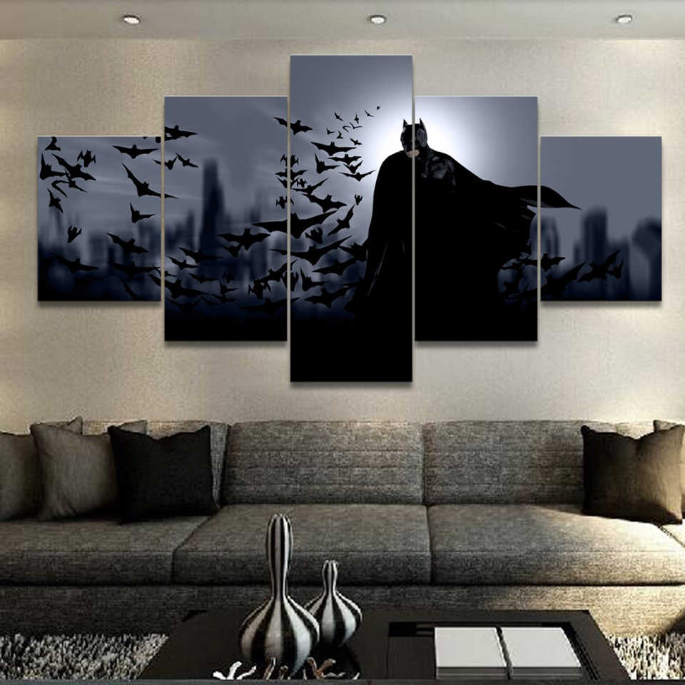 Wall Art HD Framework Movie 5 Pieces/Pcs Comics Batman Home Decor Canvas Print Abstract Paintings Modern Modular Pictures