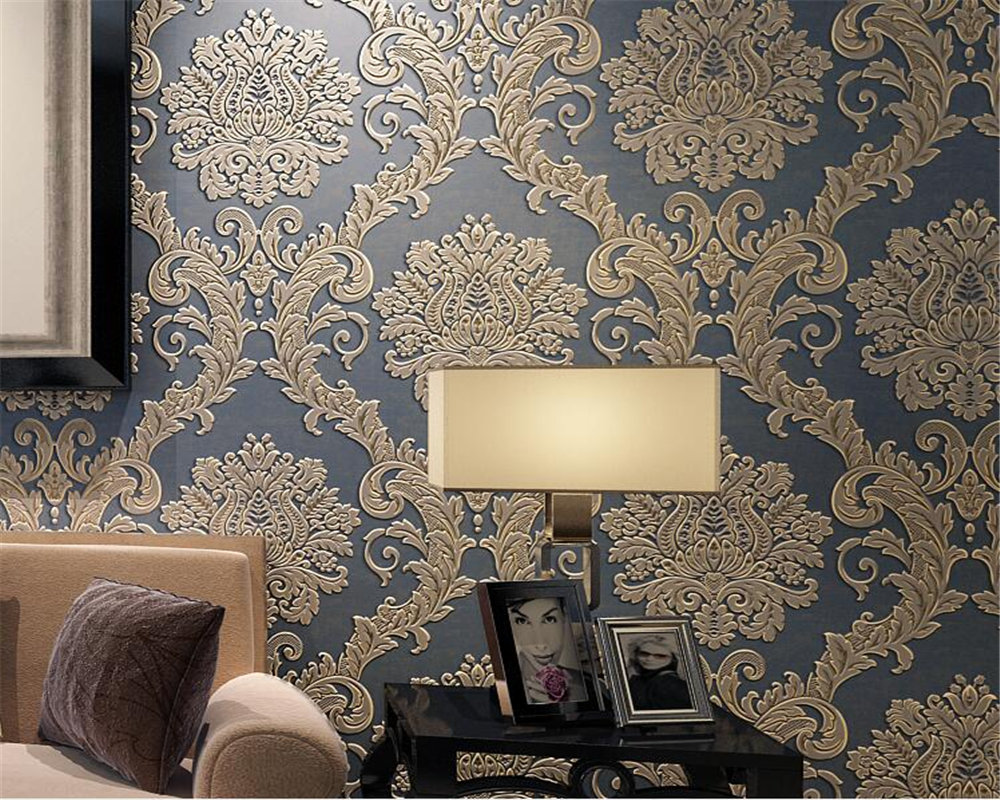 Luxurious European Bronze Damascus 3D Wallpapers Living Room Bedroom Background Wallpaper Rolls Papel De Parede 3d