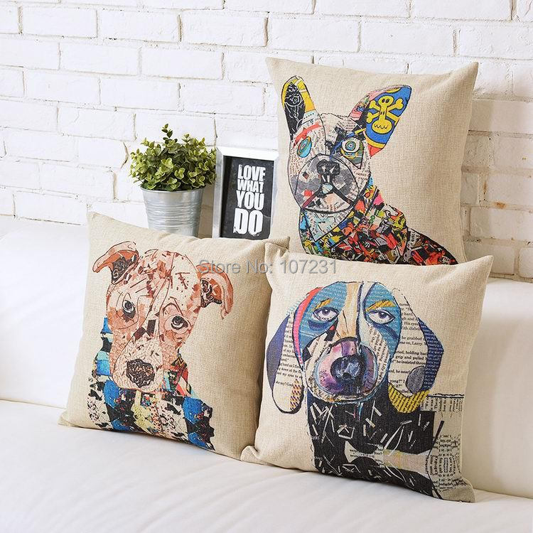 Aliexpress 45x45cm Retro Pillow Case Colourful Painting Dog Cushion Cover Puppies Decorative Throw Pillows From Reliable
