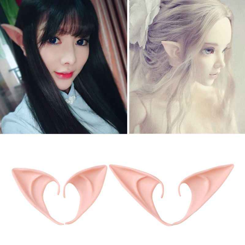 LATEX ELF EARS POINTED RUBBER FANCY DRESS COSTUME ACCESSORY CHRISTMAS COSPLAY