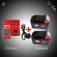 2pcs New 4000mAh Power Tool Rechargeable Lithium Ion Battery With Charger Replacement For Milwaukee 18V M18