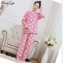 FL119C Flannel Pyjamas Pink Pajama Set Cute Pyjama Femme Pajamas Women Pyama Woman Pizama Damska Pijamas Lingerie Sleepwear