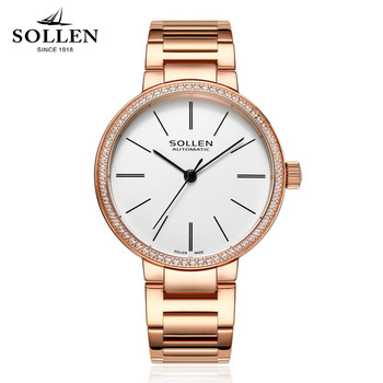 SOLLEN Luxury Watches Women brand simple design waterproof automatic mechanical watch Women stainless steel Upscale Wristwatches Women Mechanical Watches