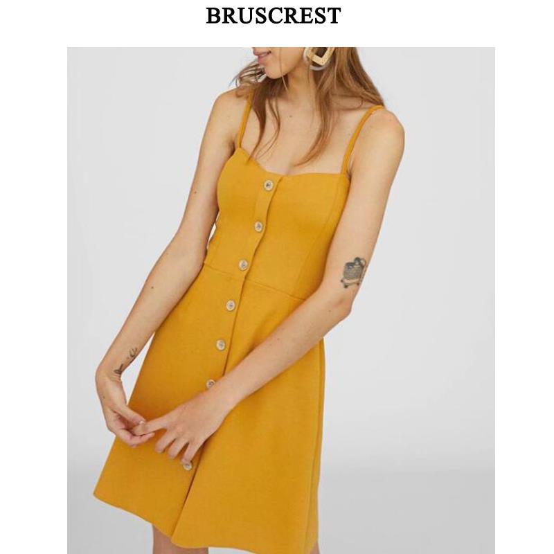 Summer dress 2018 sleeveless yellow dresses button party dress high waist vestidos korean fashion clothes womens clothing