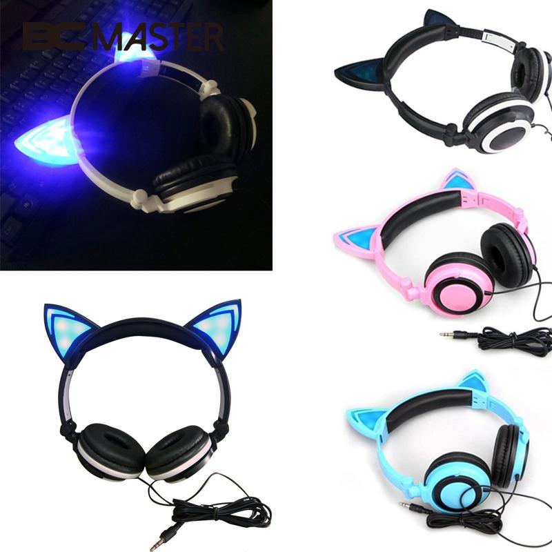 BCMaster Foldable Flashing Glowing cat ear headphones Gaming Headset Earphone with LED light For PC Laptop Computer Mobile Phone