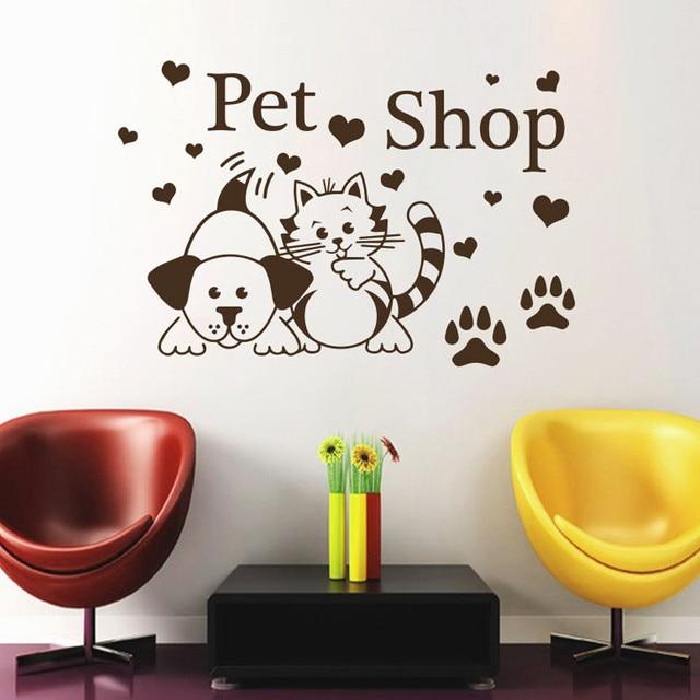 Pet Shop Wall Stickers Cats Dogs Paw Prints Hearts Salon Wall Decals Decor Vinyl Sticker Animals & Pet Shop Wall Stickers Cats Dogs Paw Prints Hearts Salon Wall Decals ...
