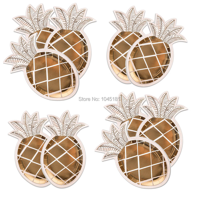 ipalmay 800pcs Pineapple Paper Plates White and Gold Pineapple Party Supplies Fruit Partyware Tropicalu0026 Hawaiian Luau  sc 1 st  AliExpress.com & ipalmay 800pcs Pineapple Paper Plates White and Gold Pineapple Party ...