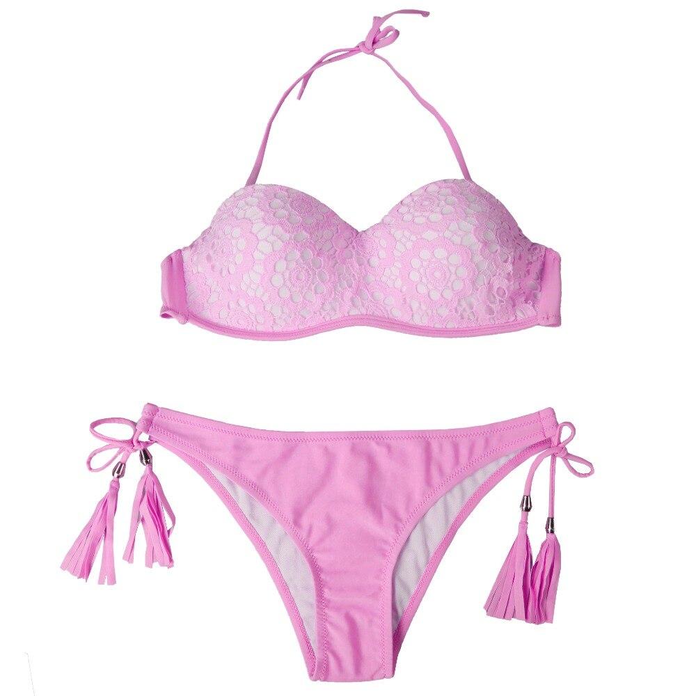 18 Summer Style Floral Print Women Bikinis Set Crochet Lace Swimsuit Strapless Push Up Bandeau Biquinis Beachwear Bathing Suit 14