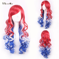 Fashion Synthetic Wigs For Women Cosplay And Party Curly Hair Machine Made Mixed Red Blue White