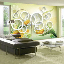 QINGCHUN Custom Print 3D Fabric &Textile Wallcoverings For Walls Cloth Murals Matt Silk For Living Room Circle Flower Home Decor цена