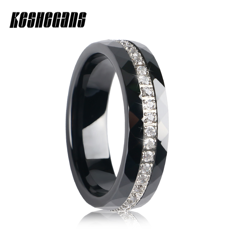 One Row Around Crystal Ceramic Rings 6mm Women Multi-section Smooth Ceramic Jewelry Black Color Wedding Party Rings Size 6/7/8/9