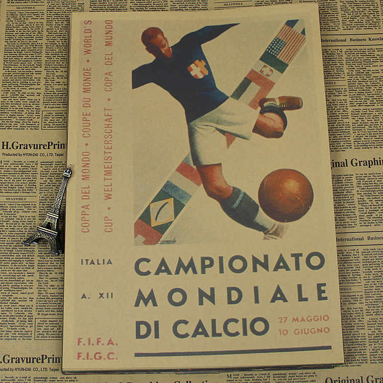 "Large Vintage ""1934 Italy World Cup"" Football Poster Home Decoration Detailed Antique Poster Wall Chart Retro Matte Kraft Paper"