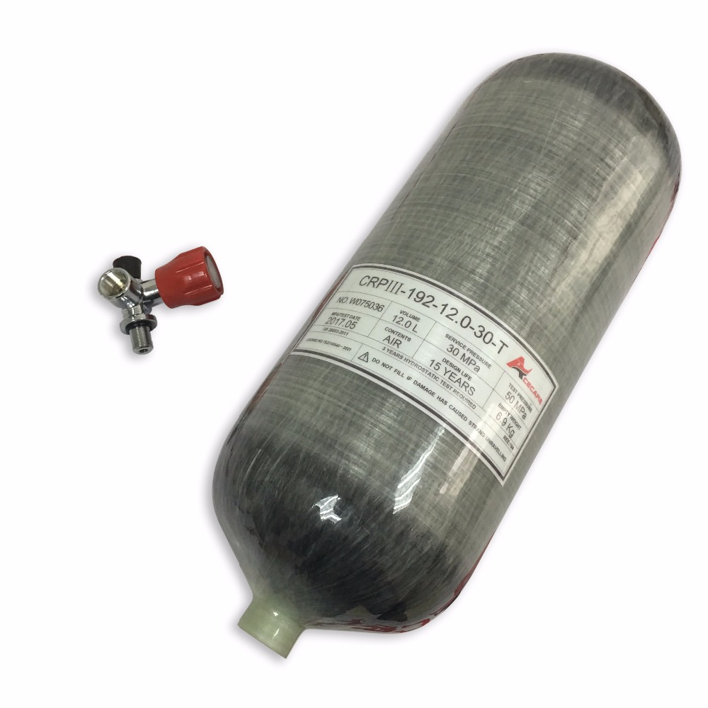 Acecare hot sale 4500psi HP carbon fiber gas cylinder with red valve for scuba tank pcp air gun tank inflate Drop Shipping acecare hot sale red safety valve attached 6 8l carbon fiber composite cylinder pcp air gun rifle paintball scuba diving