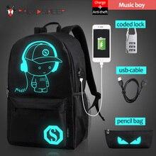 Бушевали овец школьный рюкзак студент световой анимации Школьные сумки для подростка USB зарядка компьютер Anti-Theft рюкзак для ноутбука