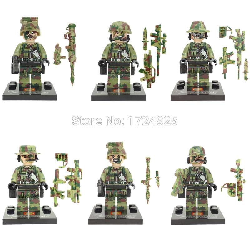 Hot Sale 6pcs/lot SWAT Block Military Figure set SY11101 with Weapon Building Blocks Sets Model Bricks Toys for Children