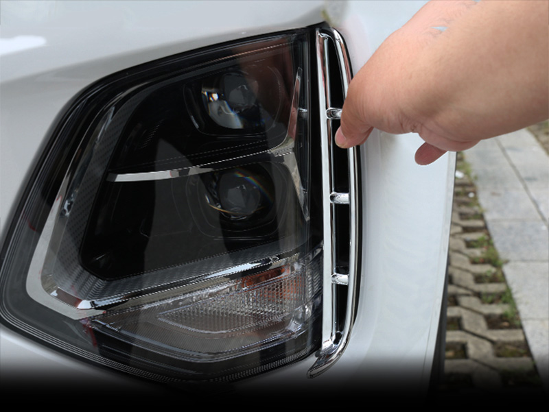 Image 4 - Car headlights air intake trim chrome style exterior accessories for Hyundai Santa Fe Santafe IX45 4TH 2019 2020-in Chromium Styling from Automobiles & Motorcycles