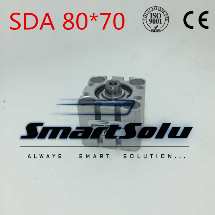 Free Shipping SDA 80*70 Pneumatic Air Compact Cylinder 80mm Bore 70mm Stroke Airtac Type free shipping 2pcs lot sda 12 20 m5 0 8 port 12mm bore 20mm stroke double action airtac type pneumatic compact air cylinder