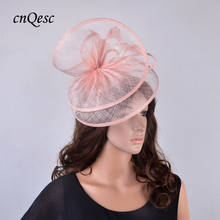 2019 New design nude pink Dress Sinamay wedding fascinator hat w/feather for Kentucky Derby,races,party,church QF125