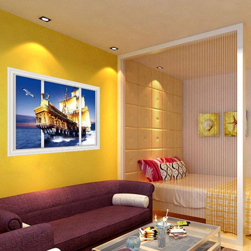 Wall decorations Sea scenery Golden Galleon 3d fake window vinyl ...
