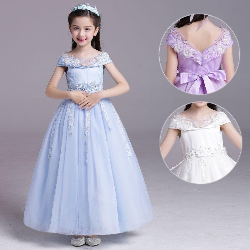 Haute qualité fleur filles robe dentelle fleur Tulle robes pour fête et mariage blanc princesse Tutu longue robe pour fleur fille
