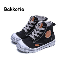 Bakkotie 2017 Spring Autumn Girl Genuine Leather Shoe Baby Boy Fashion High Top Boots for Children Gray Kid Brand Lace Up Shoe