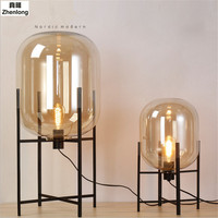 Nordic Style Glass Floor Lamp Retro Melon Floor Lights Fashion Design Glass Table Lamps Lights For