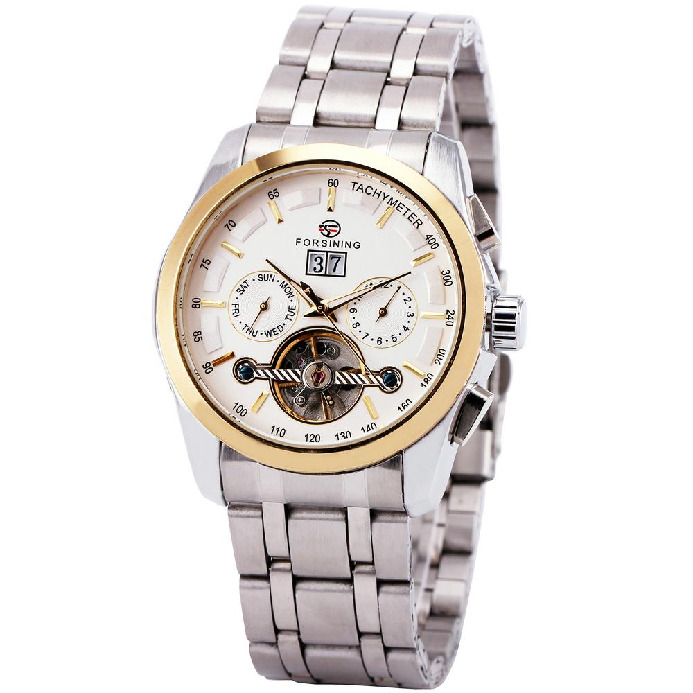 Winner Men Automatic Mechanical Wrist Watch Date Calendar Stainless Steel Strap Golden Case Vogue Box