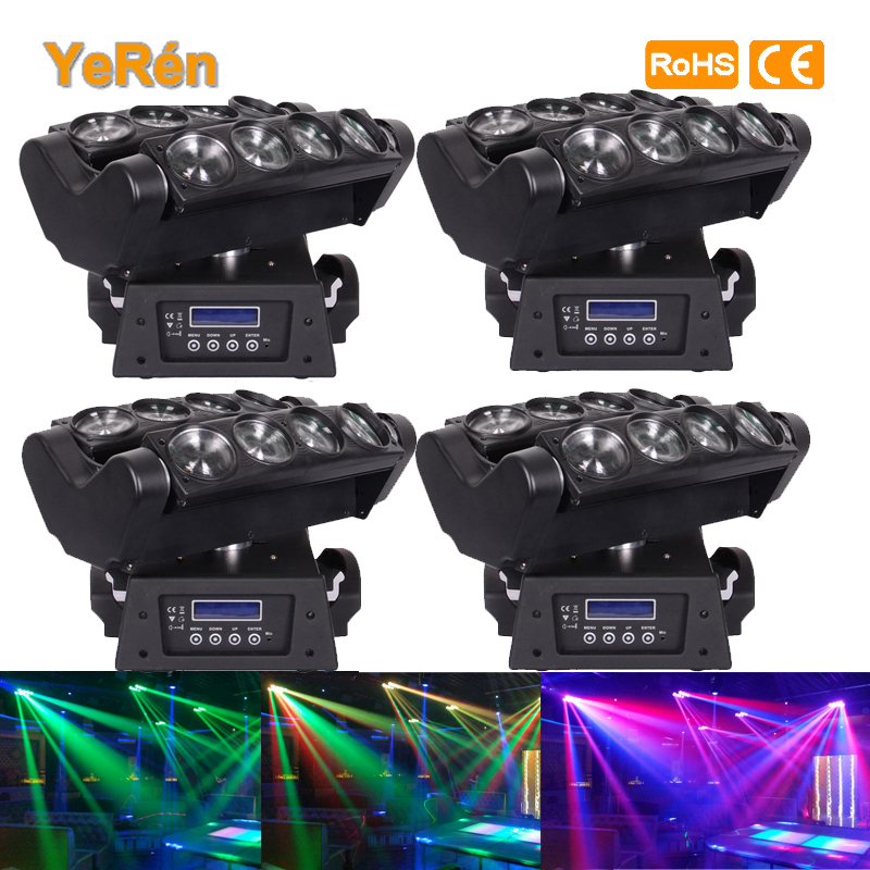(2PCS) 8*10W RGBW DJ Led Spider Beam Moving Head Light 100-240V DMX Stage Lighting Effect Music Disco Show  2pcs lot led moving head light high quality 8 10w rgbw 4in1 spider beam dj party ktv club light stage effect lighting