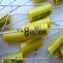 Wholesale and retail long leads yellow Axial Polyester Film Capacitors electronics 0.01uF 630V fr tube amp audio free shipping