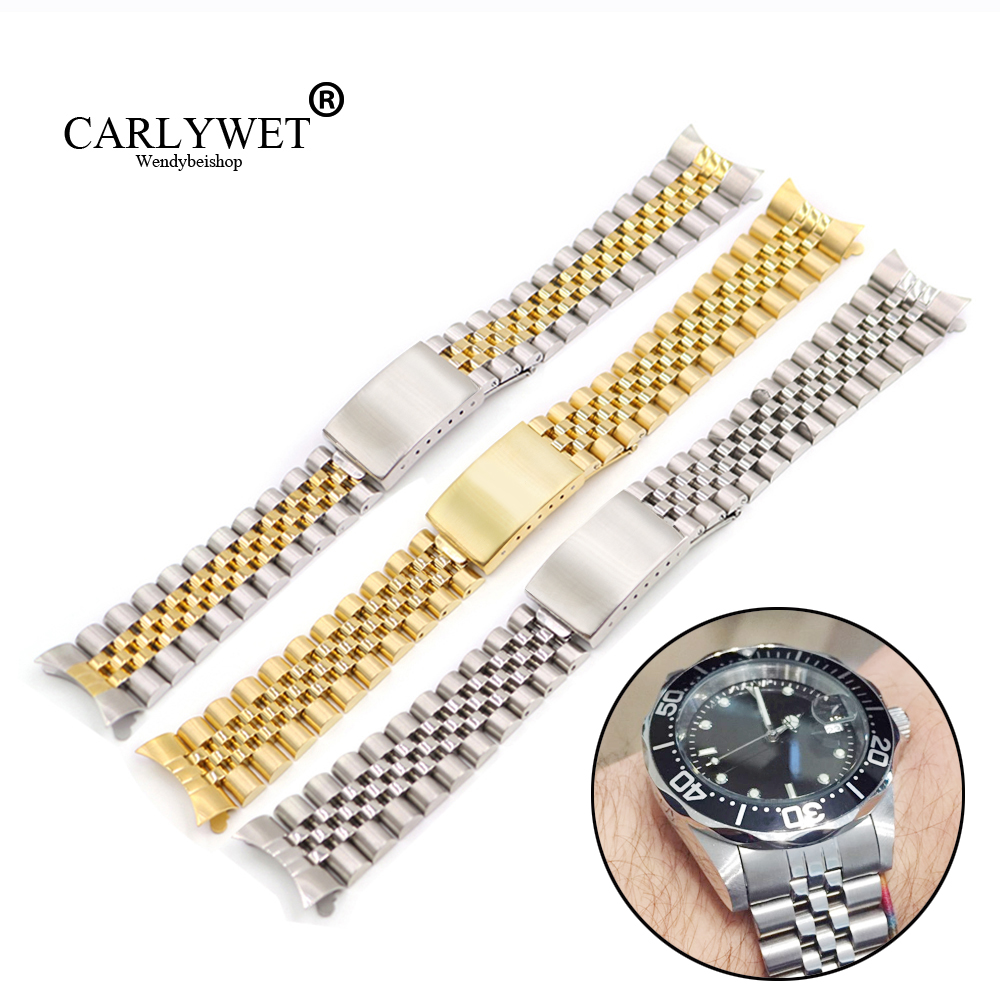 19 20 22mm Dos tonos Hollow Curved End Solid Screw Links Reemplazo de la correa de reloj Old Style VINTAGE Jubilee Pulsera para Datejust