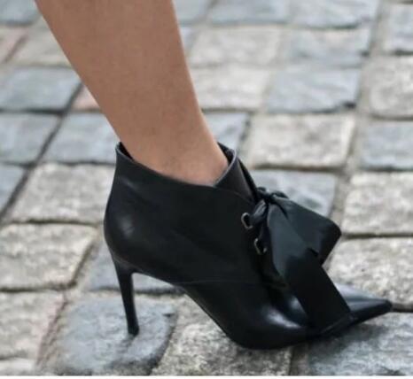 Ruban Talons Pointu Hauts 2019 À Bottines Gratuite Sexy Femmes Chaussures Noir Livraison En Lacets 43 Cuir Bout 35 Nouveau 5AjqcRL34