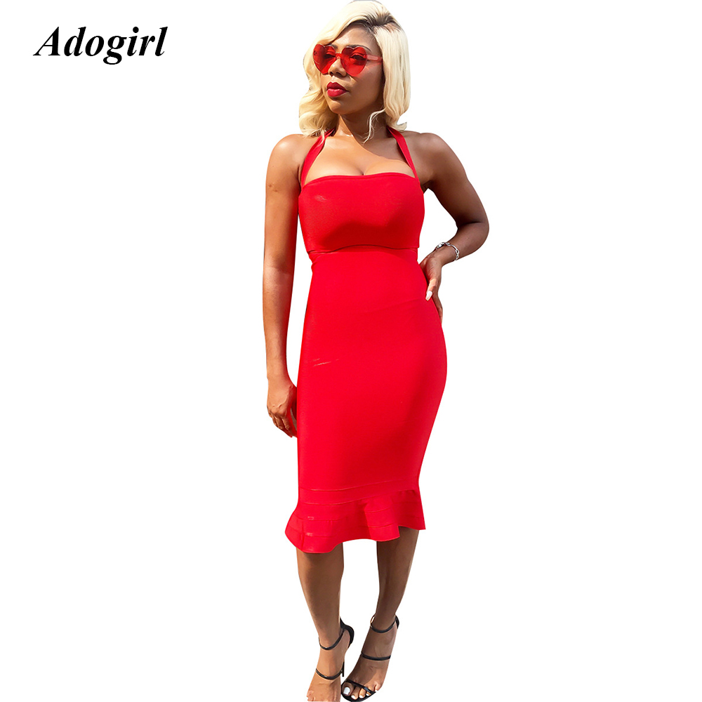 Adogirl Elegant Halter Bodycon Mermaid Midi Dress Women Casual Solid Off Shoulder Summer Dress Sexy Evening Party Dress Vestidos