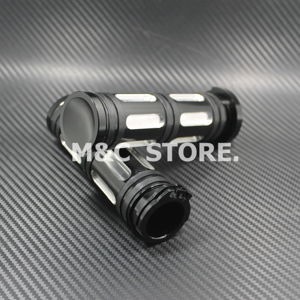 """Motorcycle 1""""25mm Black Silver Aluminum CNC Handle Bar Hand Grips For Harley Sportster Touring Dyna Softail Custom"""