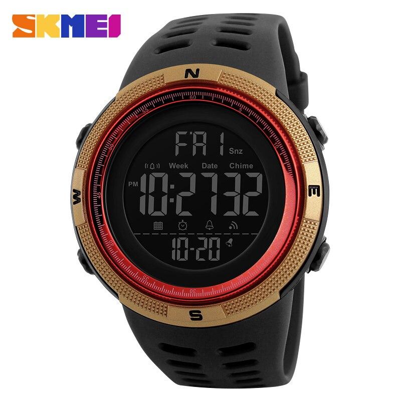 SKMEI Männer Sportuhren Männer Countdown Gold Zifferblatt Uhr Alarm Chrono Digital-armbanduhren 50 Mt Wasserdicht Relogio Masculino 1251
