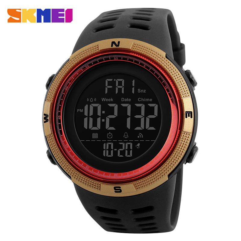 SKMEI Men Sports Watches Men Countdown Gold Dial Watch Alarm Chrono Digital Wristwatches 50M Waterproof Relogio Masculino 1251 2018 amuda gold digital watch relogio masculino waterproof led watches for men chrono full steel sports alarm quartz clock saat