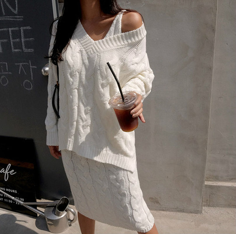 New Autumn Winter Two Piece Women V-neck Spaghetti Dress + Pullover Sweater Knitted Suits Woman Clothes 2 Pcs Sets Tracksuits