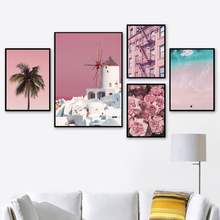 Coconut Tree Pink Sea Beach Tower Flower Wall Art Canvas Painting Nordic Posters And Prints Pictures For Living Room Decor