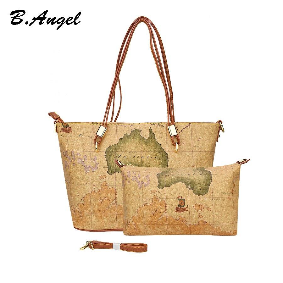 Vintage World Map Composite Women Bag Purse For Women Messenger Bags Designer Famous Brand Handbags  Girls Casual School Bag Toe